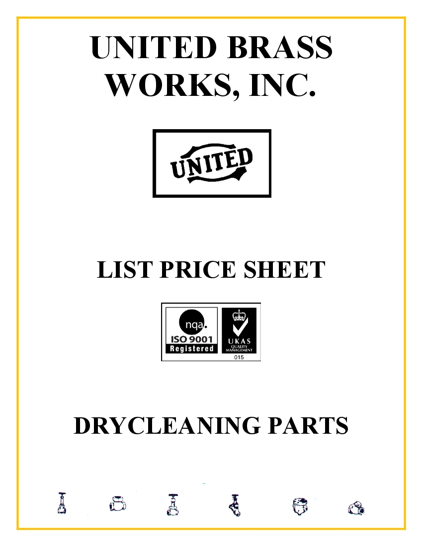 Dry Cleaning Parts List Price Sheet