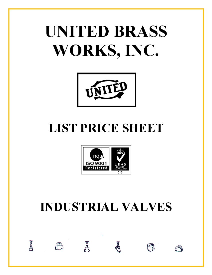 Industrial Valve Parts List Price Sheet